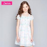 【券后预估价:79】笛莎童装女童裙子2020夏装新款中大童儿童小女孩一字肩印花连衣裙