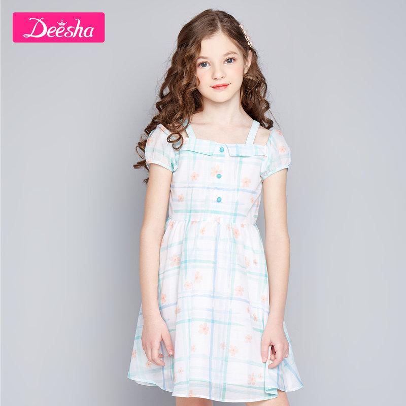 【2件3折券后预估价:71】笛莎童装女童裙子2020夏装新款中大童儿童小女孩一字肩印花连衣裙