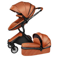 婴儿推车高景观轻便折叠双向避震可坐可躺宝宝儿童手推车 +摩卡棕皮质睡篮