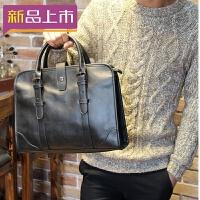 2018新款真皮男士手提包男包商务包时尚单肩包公文包男士包包韩版潮牌 黑色