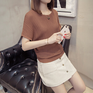 镂空宽松蝙蝠衫薄款夏装2018新款韩版冰丝针织短袖上衣