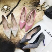 高跟鞋女尖头浅口细跟单鞋呢面料优雅欧美风低帮鞋宴会鞋