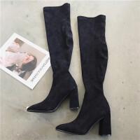 长靴女秋冬新款韩版显瘦绒面尖头粗跟过膝靴高跟长筒女靴子骑士靴
