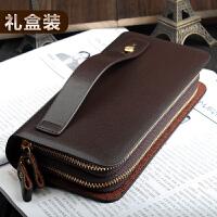 新款男士手拿包商务软皮大容量手包男包长款双拉链手抓包手机钱包