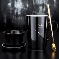 创意带过滤茶杯带盖勺陶瓷咖啡杯子办公室泡茶杯简约茶水分离水杯