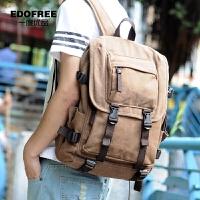 帆布背包双肩包 男时尚潮流学院风学生书包电脑包旅行包 咖啡色