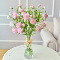 仿真花康乃馨玻璃花瓶套装绢花假花家居客厅装饰花插花艺摆件