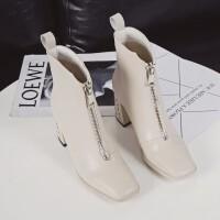短靴女白色靴子秋冬2018新款英伦前拉链马丁靴高跟鞋加绒冬季粗跟