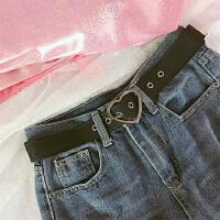 韩版潮流百搭金属爱心环女式宽腰带针扣皮带简约织带装饰女裤带