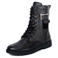 秋季马丁靴男英伦黑色户外皮靴子男长筒高帮工装靴男鞋 黑色