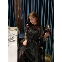 胖mm大�a法式�凸砰L裙年���Y服很仙的蕾�z�B衣裙�@瘦�W�裙200斤 黑色