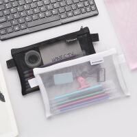 简约透明网纱笔袋收纳袋 学生考试专用便携笔袋大容量文具袋批发6色可选