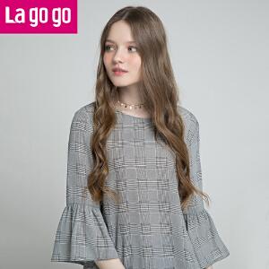 Lagogo/拉谷谷2018春季新款喇叭袖圆领上衣HASS442F08