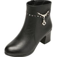 中跟女士棉皮鞋冬天半高跟加厚绒短靴粗跟大码妈妈靴子大棉鞋红色真皮