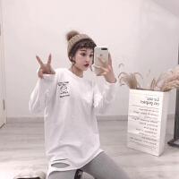 秋冬新款韩版白色长袖T恤棉破洞打底衫宽松中长款上衣女潮 白色 均码
