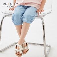 【2件1.5折价:19.4,可叠券】米喜迪mecity童装2019夏新款女童侧缝蕾丝边牛仔中裤