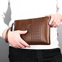 中青年男士手包软皮拉链鳄鱼纹新款潮流男钱包长款复古休闲手拿包包