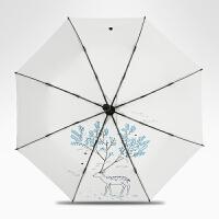太阳伞女防晒防紫外线遮阳伞黑胶折叠晴雨两用小清新简约雨伞