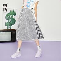 【夏装清仓价】初语小清新透视纱裙外搭2019夏装新款韩版中长款一片式半身裙女