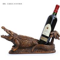 创意红酒架摆件北欧实用家居摆设客厅酒柜装饰品现代个性葡萄酒架 木纹色鳄鱼酒架