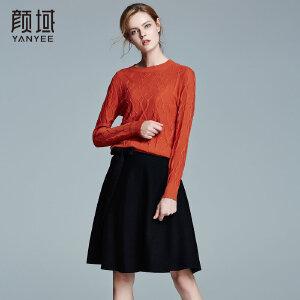 颜域品牌女装2017冬装新款欧美长袖纯色针织打底衫加厚圆领羊毛衫