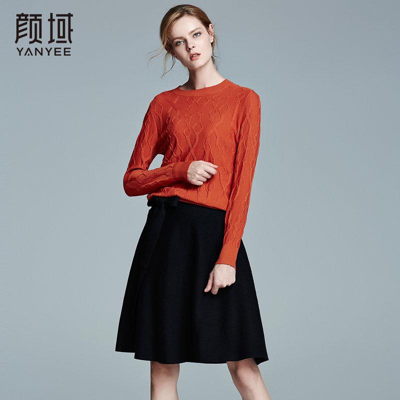 颜域品牌女装2017冬装新款欧美长袖纯色针织打底衫加厚圆领羊毛衫精选品质