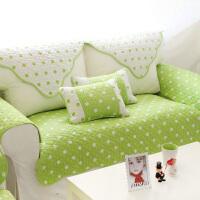 绿色沙发垫子四季通用布艺全棉清新夏季沙发巾简约现代田园三人座