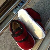 儿童千层底棉鞋男/女童布底棉鞋纯手工布鞋0至8岁宝宝棉鞋居家鞋srr 枣红 魔术贴