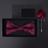 正装结婚婚礼英伦韩版蝴蝶结胸针礼盒装男士红蓝腰果领结套装