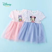【3件3折到手价:57.9】迪士尼Disney童装 女童连衣裙中小童条纹网纱裙2020年夏季新款女孩短袖裙子