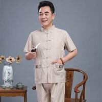 亚麻套装唐装男士短袖中老年人60-70-80岁爷爷夏装中国风老人衣服
