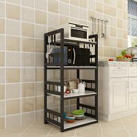 3层不锈钢烤漆厨房置物架玻璃微波炉烤箱置物架4层落地整理收纳架