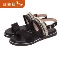 【领�幌碌チ⒓�120】红蜻蜓粗跟凉鞋女新款夏季一字跟高跟鞋 百搭网红凉鞋女