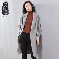 【清仓469元】梵希蔓梵希蔓双面呢大衣女2018新款冬季中长款双排扣