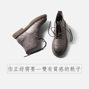 青婉田靴子女春款2018新款短靴女真皮靴马丁靴女英伦风百搭女靴春单靴