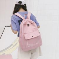书包女韩版潮原宿高中学生双肩包新款百搭纯色帆布背包