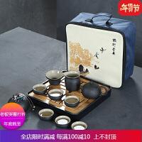 黑陶瓷茶具套装家用简约现代客厅办公室整套茶壶茶杯茶碗日式功夫 自店营年货