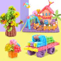 粘粘�放�孩 魔法diy玉米粒玩具片�和�手工制作材料包幼��@