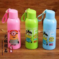小黄人卡通可爱儿童玻璃水杯 户外随手杯 运动水杯 便携饮水杯子