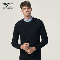 七匹狼针织衫 青年男士时尚商务休闲圆领套头冬季保暖黑色毛衣