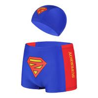 男童泳裤泳帽套装男孩平角分体游泳衣小孩宝宝游泳裤批发 蓝色