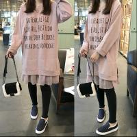 秋装新款连衣裙韩版假两件套女装胖mm宽松中长款200斤字母连衣裙