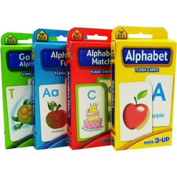 【字母套装4盒】School Zone Flash Cards Alphabet Match/Fun 儿童早教英文启蒙字母卡片 字卡闪卡 英文原版  Go Fish Alphabet