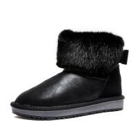 新款加厚雪地靴冬季短筒学生靴厚底短靴蝴蝶结雪地棉平底面包女靴