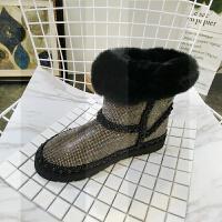 冬季新款彩色水钻满钻獭兔毛毛鞋加绒大棉雪地棉靴短靴平底鞋女鞋SN0618 黑色 内里大棉