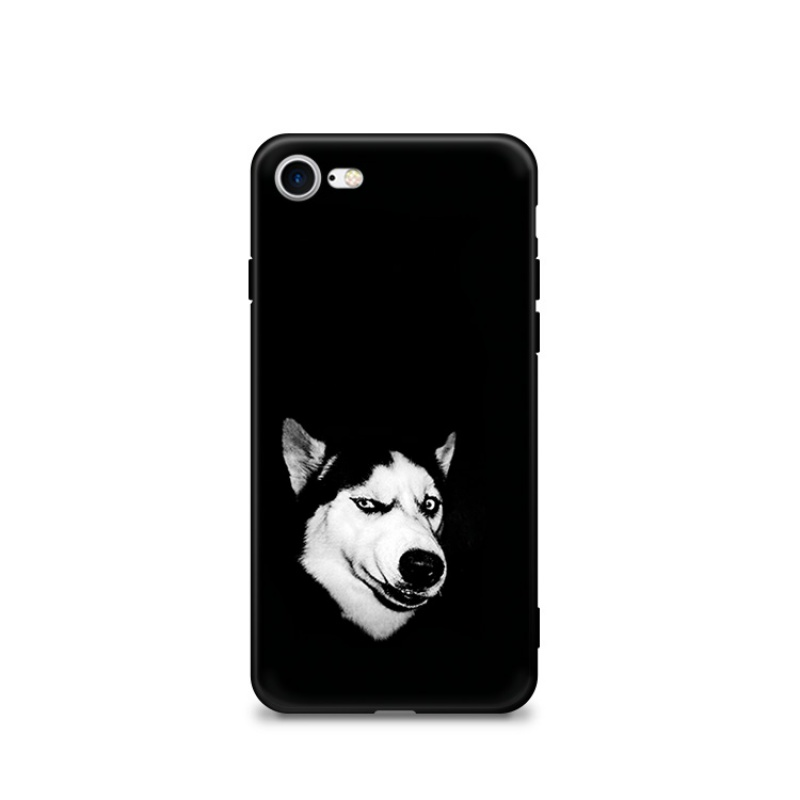 潮流搞笑哈士奇苹果8手机壳iPhone5se/6/7plus个性磨砂硅胶软壳套