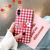 格子花朵华为P20/P30pro手机壳nova4/3i女款mate20清新/10 苹果X/Xs 红格子花朵 imd