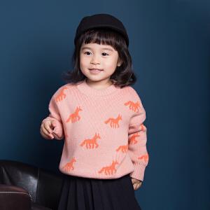女童毛衣针织开衫2018秋新宝宝百搭纯棉卡通马独角兽毛线衣