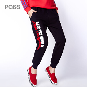 【不退不换】PASS秋冬装新款纯色运动裤女卫裤直筒松紧腰休闲卫裤女长裤
