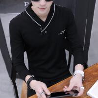 男士长袖t恤纯棉V领秋季2018新款卫衣打底衫韩版潮流修身上衣